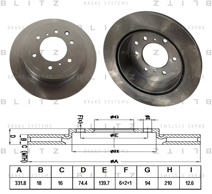 Диск тормозной BLITZ автотовары BS0381BS0381