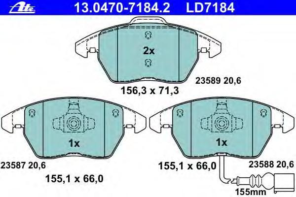Колодки тормозные CERAMIC Ate 1304707184213047071842