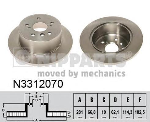 Диск тормозной Nipparts N3312070 комплект 2 штN3312070