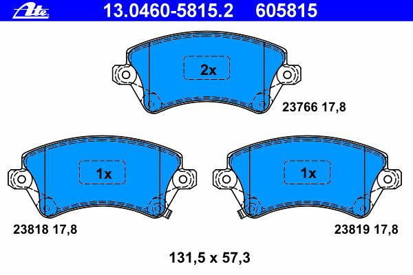Колодки тормозные дисковые Ate 1304605815213046058152