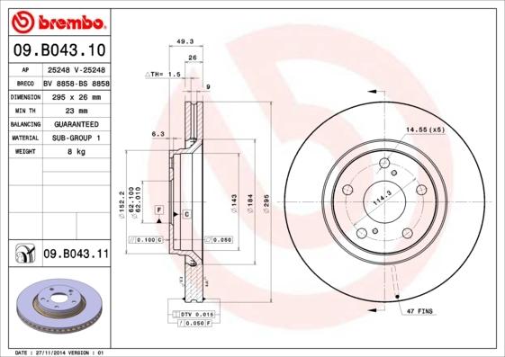 Диск тормозной передний Brembo 09B04310 комплект 2 шт09B04310