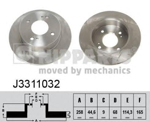 Диск тормозной задний Nipparts J3311032 комплект 2 штJ3311032