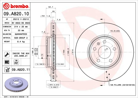 Диск тормозной Brembo. 09.A820.1109.A820.11