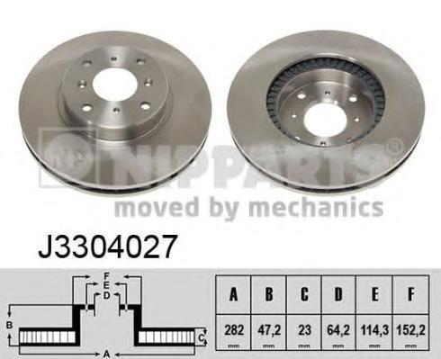 Диск тормозной передний вентилируемый Nipparts J3304027J3304027