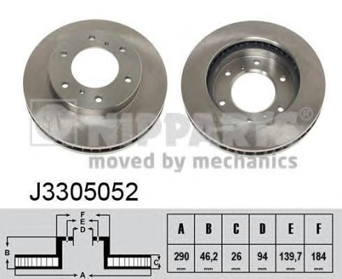 Диск тормозной передний вентилируемый Nipparts J3305052 комплект 2 штJ3305052