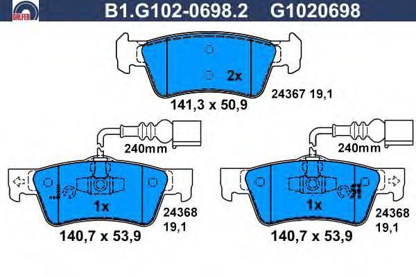 Колодки тормозные дисковые Galfer B1G10206982B1G10206982
