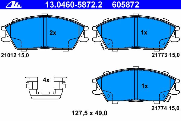 Колодки тормозные Ate 1304605872213046058722