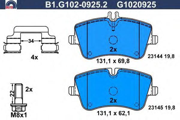 Колодки тормозные дисковые Galfer B1G10209252B1G10209252