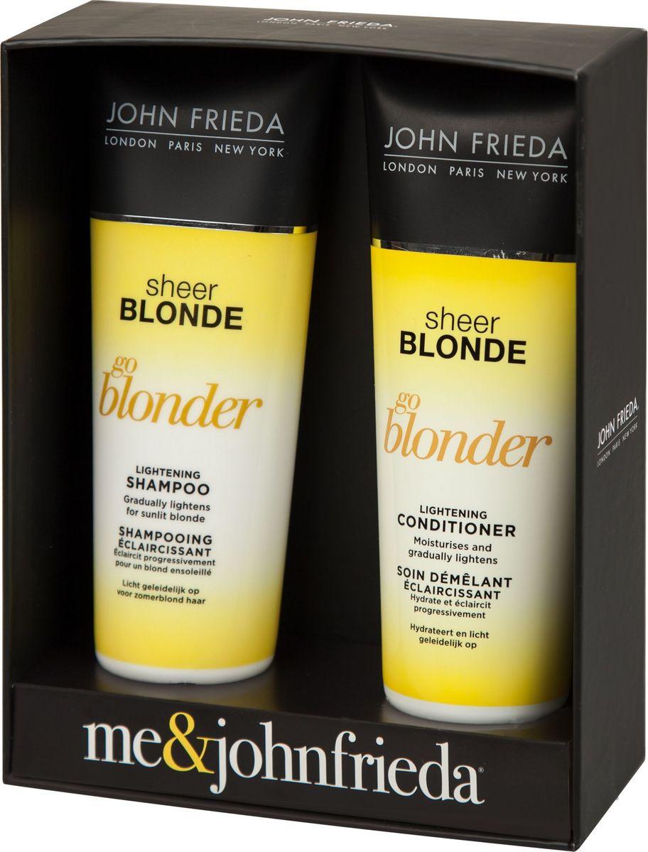 John Frieda Набор Сияющий блонд (Sheer Blonde Go Blonder осветляющий шампунь 250 мл + осветляющий кондиционер 250 мл)jfset0001НАБОР «СИЯЮЩИЙ БЛОНД» JOHN FRIEDA Sheer Blonde Go Blonder – прекрасный подарок для обладательниц светлых волос любых оттенков. Серия специально разработана для постепенного осветления, светлые волосы становятся более яркими и мерцающими!Осветляющий шампунь остепенно осветляет и создает заметный эффект выгоревших на солнце волос. Светлые волосы становятся более яркими и мерцающими, благодаря цитрусу и ромашке, создается заметный эффект солнечного поцелуя на волосах, который усиливает их блеск. Шампунь возвращает волосам красоту, мягкость и здоровый вид, не пересушивая их.Кондиционер увлажняет волосы, они становятся заметно светлее и ярче, усиливается естественный блеск светлых волос. Кондиционер восстанавливает и увлажняет волосы.Незаменимый набор для солнечного сияния светлых волос круглый год!РЕЗУЛЬТАТ: ПОСТЕПЕННОЕ ОСВЕТЛЕНИЕ СВЕТЛЫХ ВОЛОС.