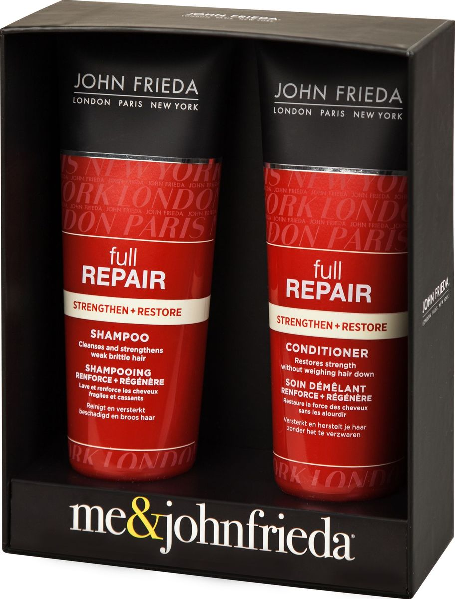 John Frieda Набор Восстановление волос (Full Repair шампунь для волос 250 мл и кондиционер для волос 250 мл)jfset0003НАБОР «ВОССТАНОВЛЕНИЕ ВОЛОС» JOHN FRIEDA Full Repair – это уникальный подарок, система восстанавливающего ухода за поврежденными волосами без утяжеления, специально разработана экспертами на основе драгоценного масла растения Инка Инчи, богатого Омега-3 кислотами. Поврежденные и уставшие от постоянных укладок волосы снова выглядят живыми, блестящими и здоровыми.Инновационная укрепляющая формула шампуня позволяет поврежденным волосам выглядеть здоровыми, восстанавливая силу для пышной объемной укладки, защищает поврежденные волосы, не утяжеляя их и уменьшая риск повреждения и ломкости, появления секущихся кончиков.Укрепляющая формула кондиционера изменяет внешний вид и состояние волос, восстанавливая их силу без утяжеления для создания объемных причесок, упругих локонов. Восстанавливает силу волос, без утяжеления. РЕЗУЛЬТАТ: ВОССТАНОВЛЕНИЕ И СИЛА. Невесомое решение для возвращения к жизни уставших волос.