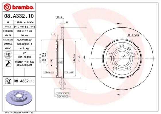 Диск тормозной задний Brembo 08A33210 комплект 2 шт диск тормозной brembo 09a40110 комплект 2 шт