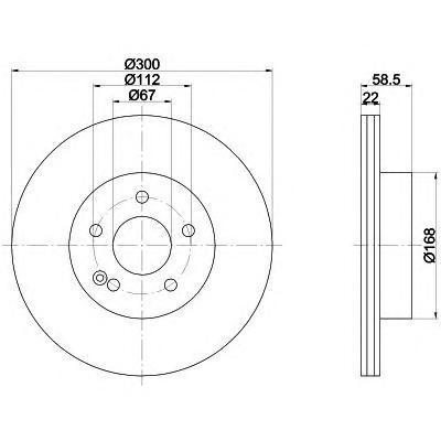 Диск тормозной Behr-Hella Pro, 2 шт. 8DD355106-9118DD355106-911
