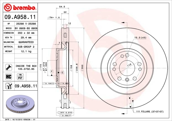 Диск тормозной Brembo 09A9581109A95811