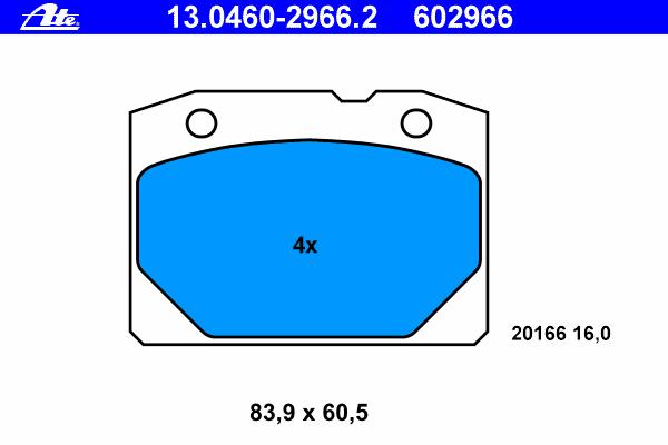 Колодки тормозные дисковые Ate 1304602966213046029662