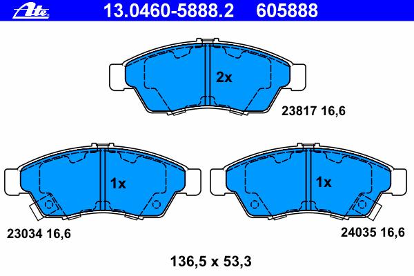 Колодки тормозные Ate 1304605888213046058882