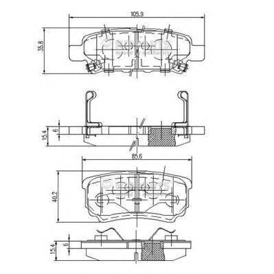 Колодки тормозные задние Nipparts N3615015N3615015