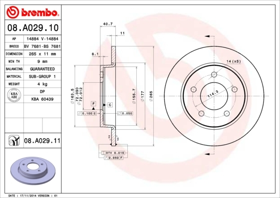 Диск тормозной Brembo 08A0291008A02910