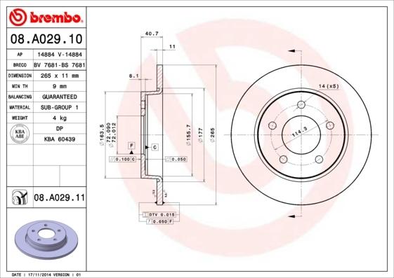 Диск тормозной Brembo 08A02910 комплект 2 шт08A02910