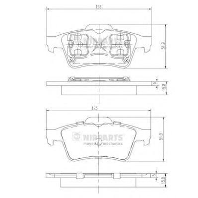 Колодки тормозные задние Nipparts J3611045J3611045