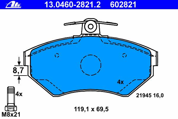 Колодки тормозные Ate 1304602821213046028212