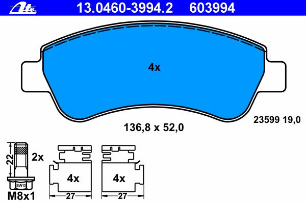 Колодки тормозные дисковые Ate 1304603994213046039942
