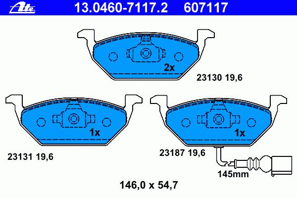 Колодки тормозные дисковые Ate 1304607117213046071172
