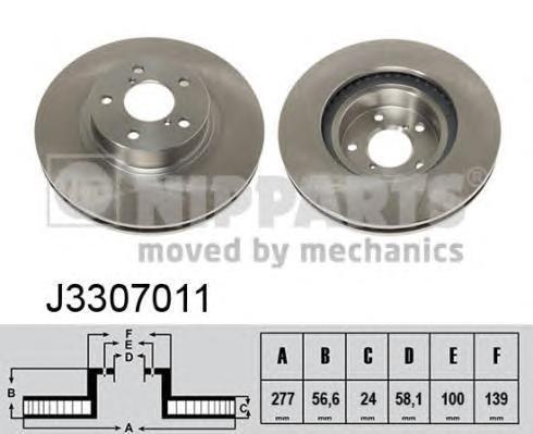 Диск тормозной передний вентилируемый Nipparts J3307011 комплект 2 штJ3307011