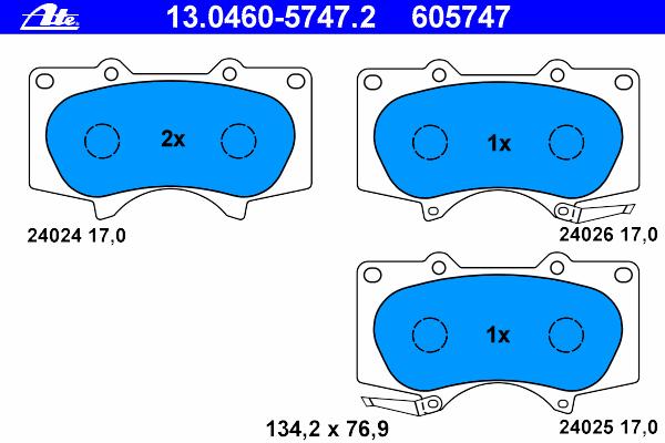 Колодки тормозные дисковые Ate 1304605747213046057472