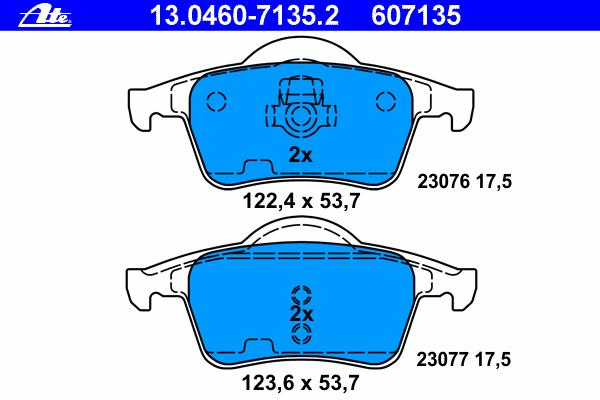 Колодки тормозные дисковые Ate 1304607135213046071352