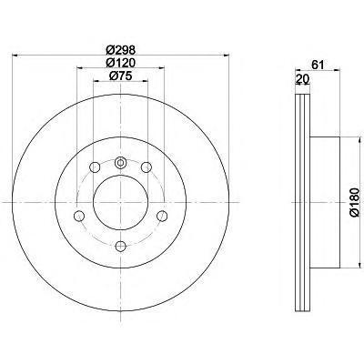 Диск тормозной задний вентилируемый Textar 9207510392075103
