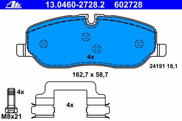 Колодки тормозные дисковые Ate 1304602728213046027282