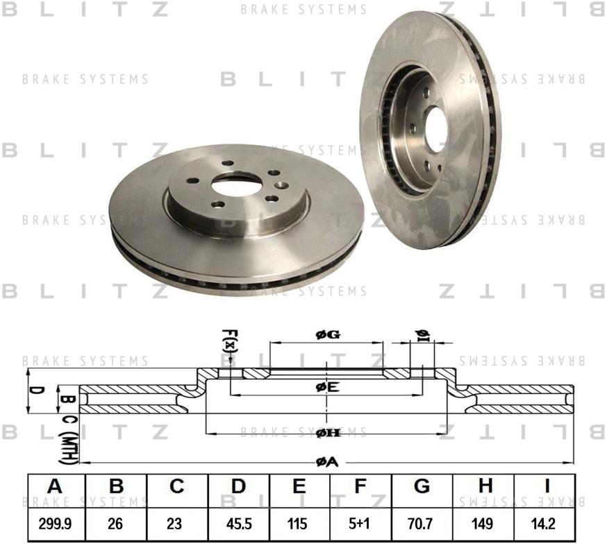 Диск тормозной BLITZ автотовары BS0311BS0311