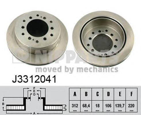 Nipparts Диск тормозной задний вентилируемый. J3312041J3312041