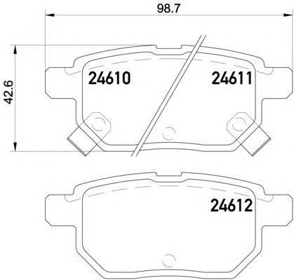 Колодки тормозные дисковые, 4 шт Textar 24610012461001