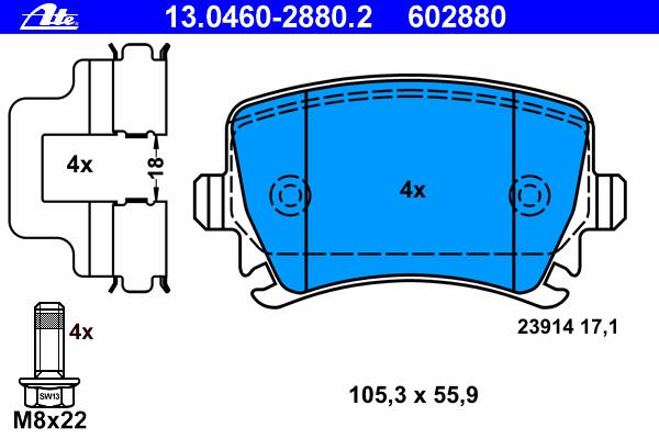 Колодки тормозные дисковые Ate 1304602880213046028802