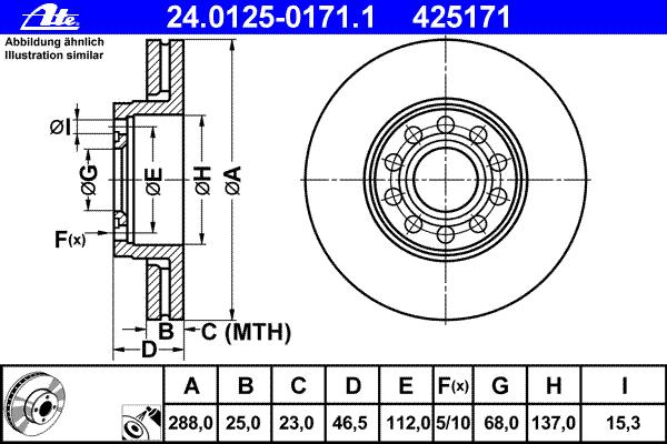 Диск тормозной Ate 24012501711 комплект 2 шт24012501711
