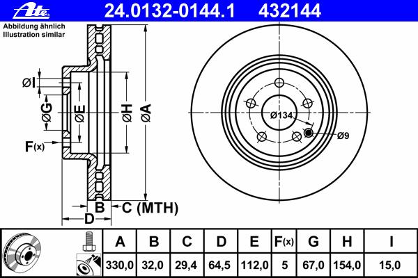 Диск тормозной Ate 24013201441 комплект 2 шт24013201441