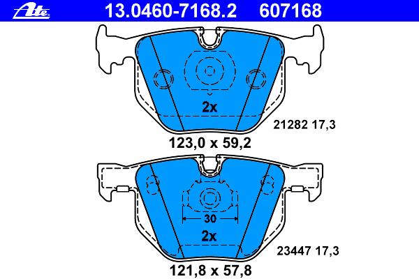 Колодки тормозные дисковые Ate 1304607168213046071682