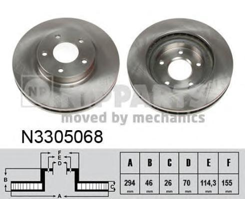 Диск тормозной передний Nipparts N3305068 комплект 2 штN3305068