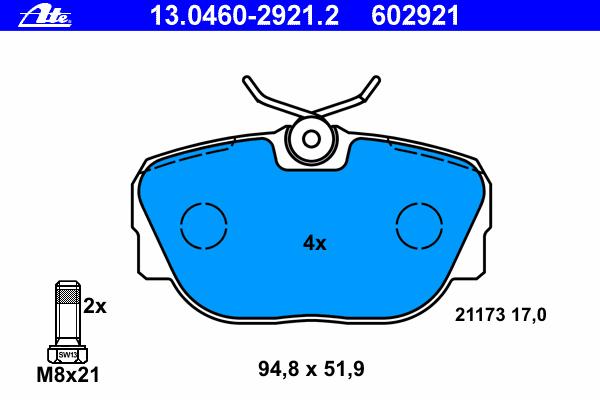 Колодки тормозные дисковые Ate 1304602921213046029212
