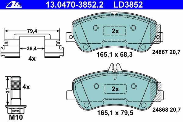 Колодки тормозные CERAMIC Ate 1304703852213047038522