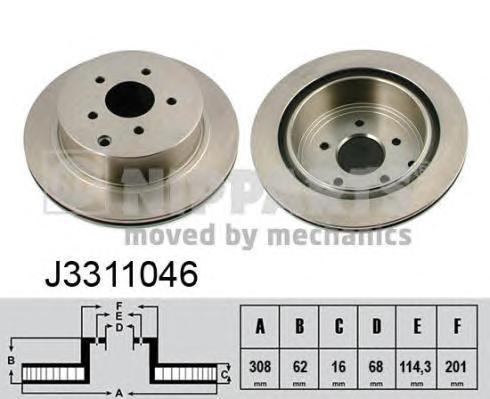 Диск тормозной задний Nipparts J3311046 комплект 2 штJ3311046