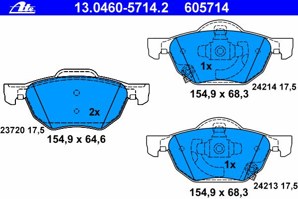 Колодки тормозные дисковые Ate 1304605714213046057142