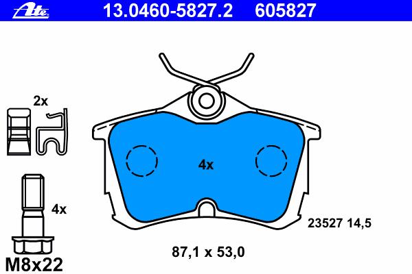 Колодки тормозные дисковые Ate 1304605827213046058272