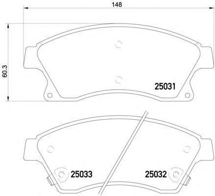 Колодки тормозные передние Textar 25031012503101