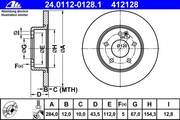 Диск тормозной Ate 24011201281 комплект 2 шт24011201281