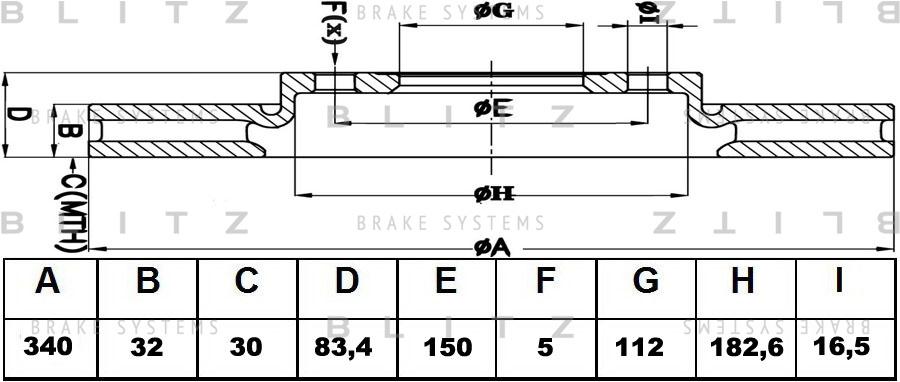 Диск тормозной BLITZ автотовары BS0353BS0353