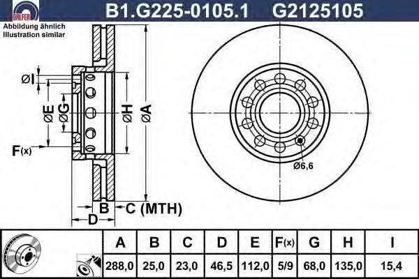 Диск тормозной Galfer B1G22501051B1G22501051