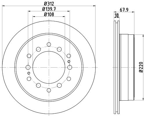 Диск тормозной задний вентилируемый 312x18mm 6 отв Textar 9223100392231003