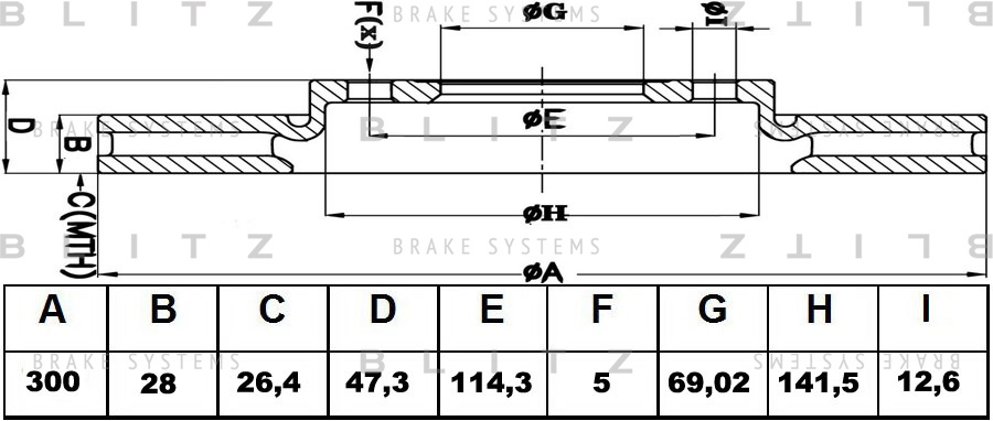 Диск тормозной BLITZ автотовары BS0303 комплект 2 штBS0303
